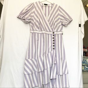 Eloquil Button Front Puff Sleeve Dress Purple/wht